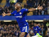 Charly Musonda celebrates scoring the third during the EFL Cup game between Chelsea and Nottingham Forest on September 20, 2017