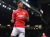 Marcus Rashford celebrates scoring during the EFL Cup game between Manchester United and Burton Albion on September 20, 2017