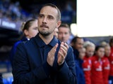 Mark Sampson applauds ahead of England Women's game against Russia Women on September 19, 2017