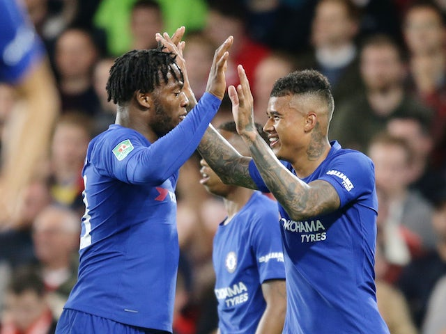 Michy Batshuayi congratulates Kenedy during the EFL Cup game between Chelsea and Nottingham Forest on September 20, 2017