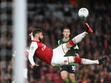 Olivier Giroud attempts an overhead kick during the EFL Cup game between Arsenal and Doncaster Rovers on September 20, 2017