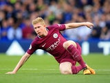 Kevin De Bruyne in action during the Premier League game between Chelsea and Manchester City on September 30, 2017