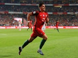 Andre Silva celebrates the second during the World Cup qualifier between Portugal and Switzerland on October 10, 2017