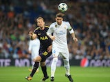 Harry Kane and Sergio Ramos in action during the Champions League group game between Real Madrid and Tottenham Hotspur on October 17, 2017