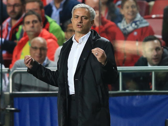 Jose Mourinho gesticulates during the Champions League group game between Benfica and Manchester United on October 18, 2017