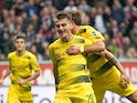Maximilian Philipp celebrates scoring for Borussia Dortmund on October 21, 2017