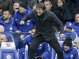 Antonio Conte celebrates during the Premier League game between Chelsea and Newcastle United on December 2, 2017