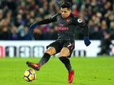 Alexis Sanchez in action during the Premier League game between Crystal Palace and Arsenal on December 28, 2017