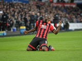 Bournemouth striker Benik Afobe in action during his side's Premier League clash with Swansea City at the Liberty Stadium on December 31, 2016