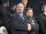 Rafael Benitez watches on during the Premier League game between Newcastle United and Manchester City on December 27, 2017