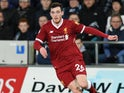 Andrew Robertson in action during the Premier League game between Swansea City and Liverpool on January 22, 2018