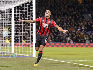 Callum Wilson celebrates the opener during the Premier League game between Chelsea and Bournemouth on January 31, 2018
