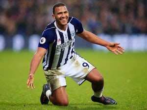 Salomon Rondon in jazz hands action for West Bromwich Albion against Southampton on February 3, 2018