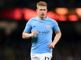Kevin De Bruyne in action during the Premier League game between Manchester City and Leicester City on February 10, 2018
