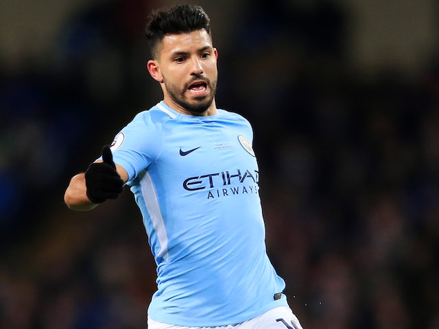 Sergio Aguero in action during the Premier League game between Manchester City and Leicester City on February 10, 2018