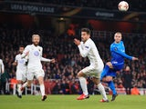 Jack Wilshere of Arsenal has a shot charged down during the Europa League match against Ostersunds on February 22, 2018