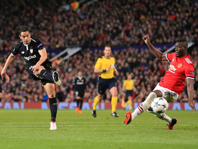 Wissam Ben Yedder scores the opener during the Champions League round-of-16 game between Manchester United and Sevilla on March 13, 2018