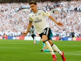 Tom Cairney celebrates scoring the winner for Fulham during their Championship playoff final with Aston Villa on May 26, 2018