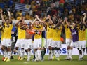 Colombia celebrate after beating Uruguay in the last 16 of the 2014 World Cup