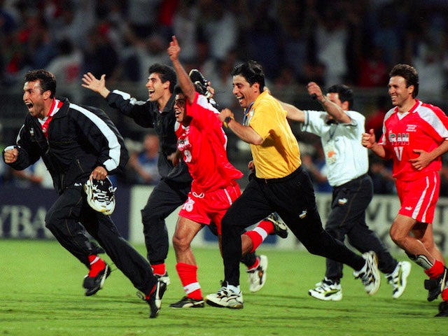 Iran celebrate beating USA at the 1998 World Cup