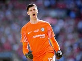 Thibaut Courtois in action for Chelsea during the FA Cup final on May 19, 2018