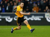 Diogo Jota scores the third during the Premier League game between Wolverhampton Wanderers and Leicester City on January 19, 2019
