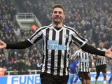 Fabian Schar celebrates scoring for Newcastle United on January 19, 2019