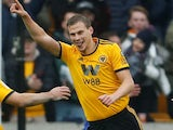 Ryan Bennett celebrates scoring the second during the Premier League game between Wolverhampton Wanderers and Leicester City on January 19, 2019