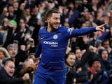 Chelsea's Eden Hazard celebrates after scoring against Huddersfield on February 2, 2019
