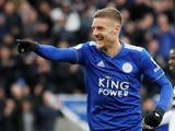 Leicester City striker Jamie Vardy celebrates scoring against Fulham on March 9, 2019