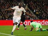 Manchester United striker Romelu Lukaku celebrates opening the scoring against Paris Saint-Germain on March 6, 2019