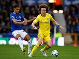 Everton's Dominic Calvert-Lewin challenges Chelsea's David Luiz during their Premier League clash on Match 17, 2019