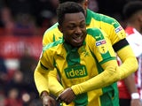 Kyle Edwards celebrates scoring for West Bromwich Albion on March 16, 2019