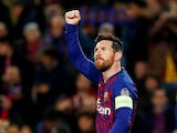 Barcelona's Lionel Messi celebrates scoring against Lyon in the Champions League on March 13, 2019