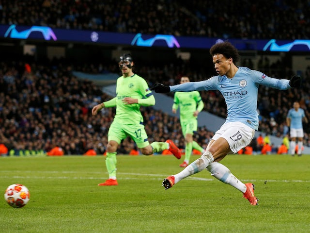 Manchester City winger Leroy Sane scores against Schalke 04 on March 12, 2019