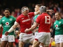 Wales' Hadleigh Parkes celebrates scoring their first try with Jonathan Davies against Ireland on March 16, 2019