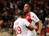 Gelson Martins celebrates scoring for Monaco against Lyon in February 2019