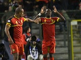 Christian Benteke celebrates scoring for Belgium