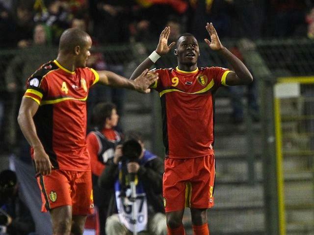 Christian Benteke celebrates scoring for Belgium