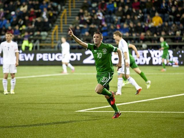 Robbie Keane celebrates for Republic of Ireland