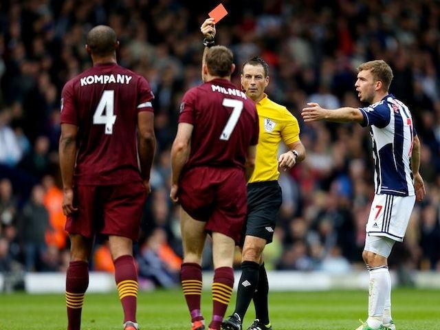 James Milner sees red for Man City