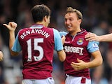 Mark Noble celebrates scoring for West Ham