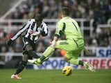 Demba Ba takes a shot on goal
