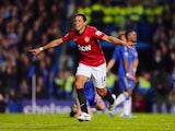 Javier Hernandez celebrates scoring United's third