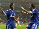 Klaas-Jan Huntelaar celebrates with Christian Fuchs