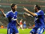 Klaas-Jan Huntelaar celebrates with Christian Fuchs