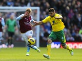 Norwich City's Bradley Johnson and Aston Villa's Marc Albrighton