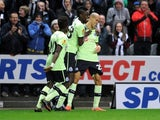 Gabriel Obertan celebrates scoring for Newcastle