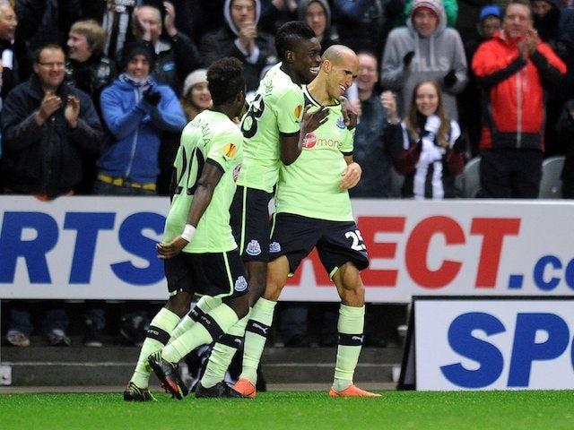 Gabriel Obertan celebrates scoring for Newcastle
