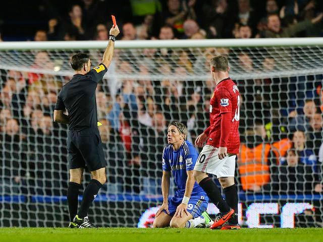Fernando Torres is shown a red card